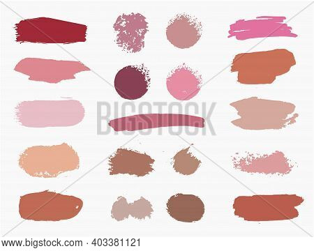 Vector Set Of Vector Swatches Makeup Strokes. Beauty Cosmetic Brush Stains Smear, Make Up Lines Coll