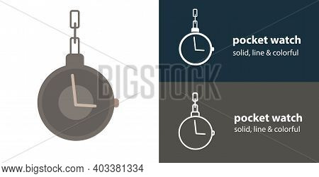 Pocket Watch Isolated Vector Flat Icon With Pocket Watch Solid, Line Icons
