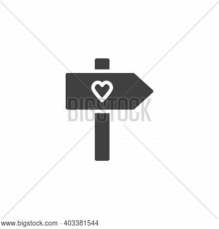 Valentines Day Signpost Vector Icon. Filled Flat Sign For Mobile Concept And Web Design. Signpost Wi
