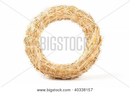 Wreath Made With Straw Isolated On White Background