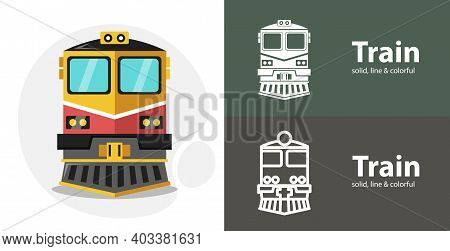 Train Isolated Tool Flat Icon With Train Solid, Line Icons