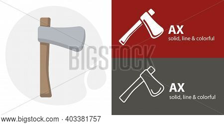 Ax Isolated Tool Flat Icon With Ax Solid, Line Icons