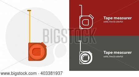 Tape Measure Icon. Roulette Construction Isolated Tool Flat Icon With Tape Measure Solid, Line Icons