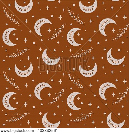 Boho Moon Pattern. Ethnic Moon Seamless Pattern. Floral Celestial Decorative Background. Bohemian Fa