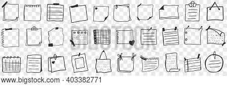 Various Papers And Notes Doodle Set. Collection Of Hand Drawn Pieces And Pages Of Paper Notes With R
