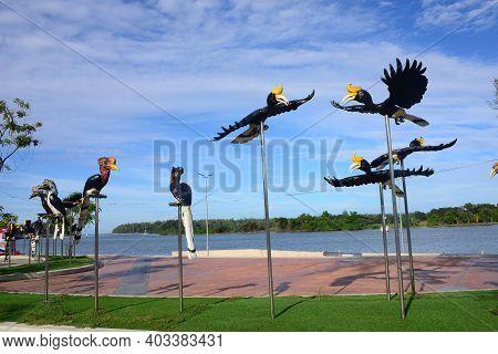 Narathiwat, Thailand - 1 January 2021 : Hornbill  Statue At Tha Phraya Sai Dam It Is A Place For Rec