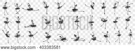 Women Ballerina Dancing Doodle Set. Collection Of Hand Drawn Elegant Female Characters Classical Dan