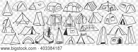 Various Camping Tents Doodle Set. Collection Of Hand Drawn Camping Temporary House Tents For Traveli