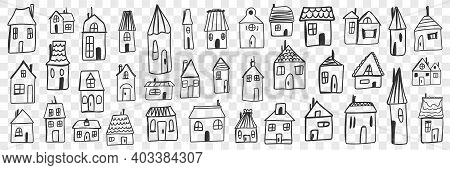 Various Houses And Buildings Doodle Set. Collection Of Hand Drawn Small One Floored Houses Buildings