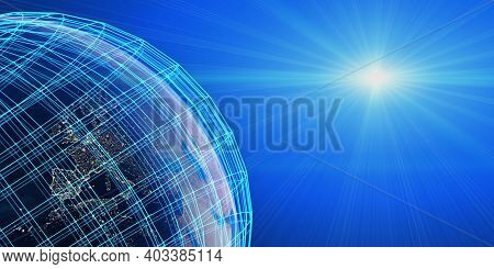 Worldwide Fast Internet Network Concept. Industry 4.0. Global  Business And Finance. E-business And