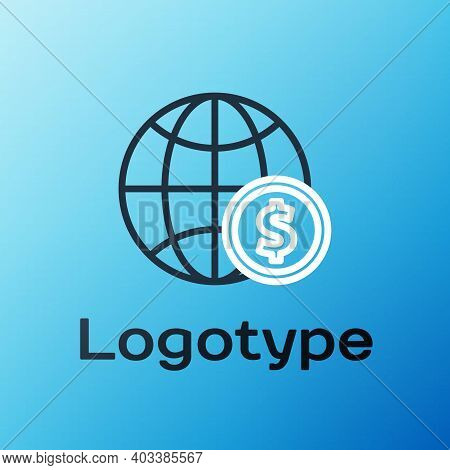 Line Earth Globe With Dollar Symbol Icon Isolated On Blue Background. World Or Earth Sign. Global In