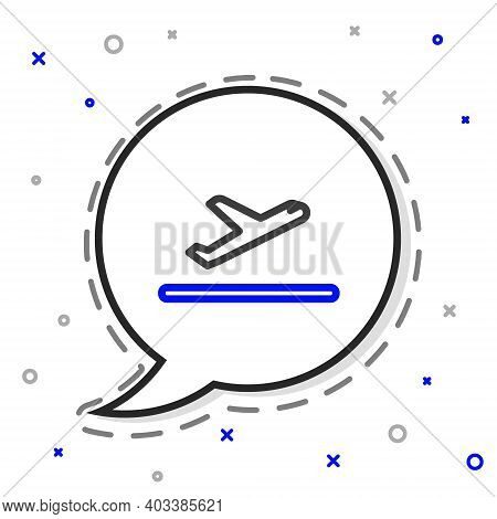Line Plane Takeoff Icon Isolated On White Background. Airplane Transport Symbol. Colorful Outline Co