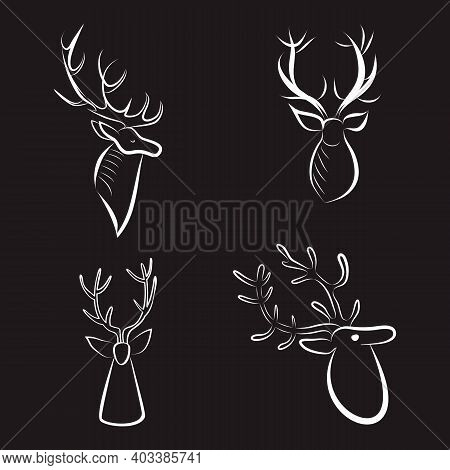 Deer Heads White Outlines. Contour Silhouettes Set Of Reindeer Heads. Minimalistic Hand Drawing. Lar