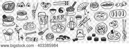 Various Japanese Chinese Dishes Doodle Set. Collection Of Hand Drawn Sushi Maki, Spring Rolls, Steam