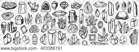 Various Natural Crystals Doodle Set. Collection Of Hand Drawn Crystals With Natural Shine Of Differe