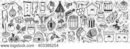 Beekeeping Attributes And Tools Doodle Set. Collection Of Hand Drawn Honey, Hive, Bees, Barrels And