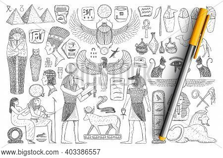 Ancient Egyptian Symbols Doodle Set. Collection Of Hand Drawn Pyramids, Pharaoh, Priest, Religious S