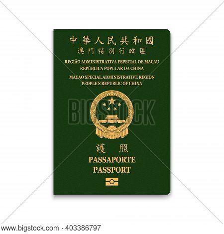 Passport Of Macao. Citizen Id Template. Vector Illustration