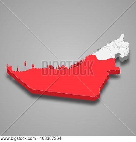 Abu Dhabi Emirate Location Within United Arab Emirates 3d Isometric Map