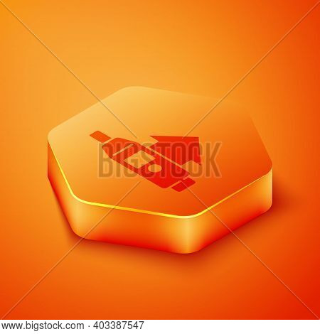 Isometric Medical Digital Thermometer For Medical Examination Icon Isolated On Orange Background. Or
