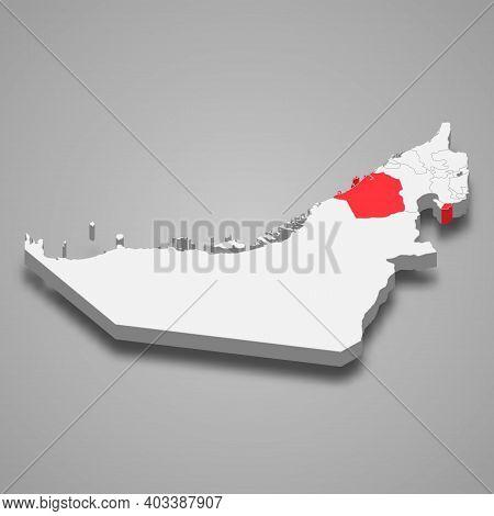 Dubai Emirate Location Within United Arab Emirates 3d Isometric Map