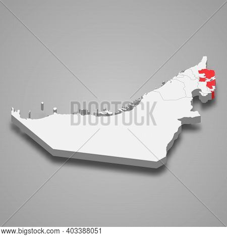 Fujairah Emirate Location Within United Arab Emirates 3d Isometric Map