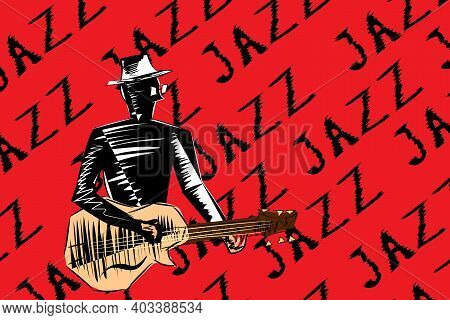 Jazz Guitarist. Musician Playing The Guitar Isolated On A Red Background With The Inscription. Jazz