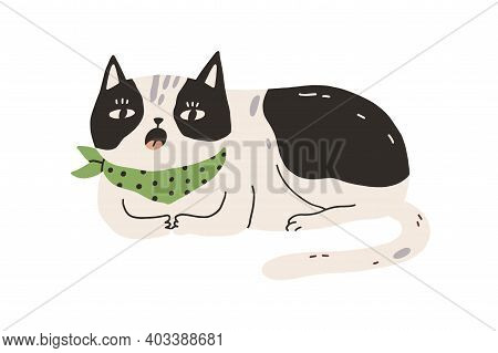 Cute Sleepy Cat Yawning Or Meowing. Funny Lazy Bored Kitty Lying And Resting. Sweet Spotty Kitten Dr
