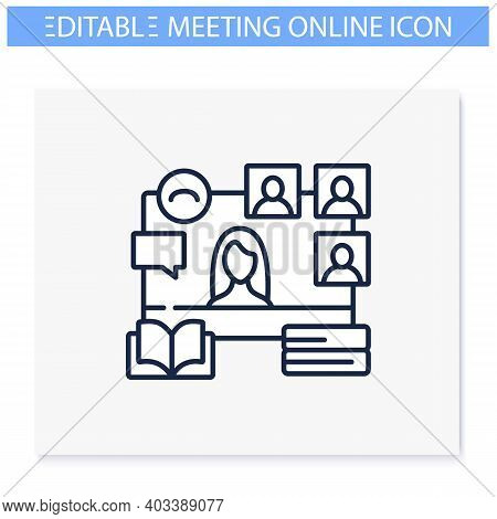 Online Book Club Line Icon. Meeting Together Concept. Internet Streaming Website. Social Distanced B