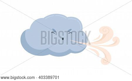 Cute Blue Cloud With Funny Angry Face With Blowing Wind. Windy Weather Icon. Sweet Baby Character Wi