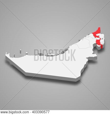 Ras Al Khaimah Emirate Location Within United Arab Emirates 3d Isometric Map
