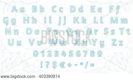 Polygonal Font. Low Poly Letters, Numbers And Signs. Alphabet Created With Lines And Dots. Alphabet