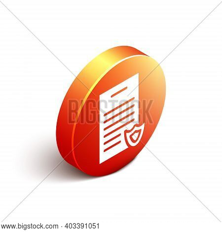 Isometric Firearms License Certificate Icon Isolated On White Background. Weapon Permit. Orange Circ