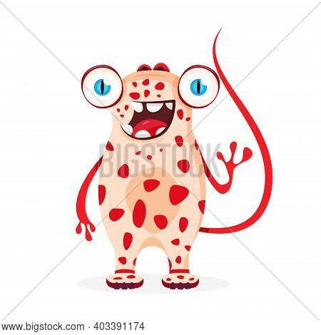 Cute, Friendly, Spotted, Red Alien Monster Greets You. Cartoon Style.