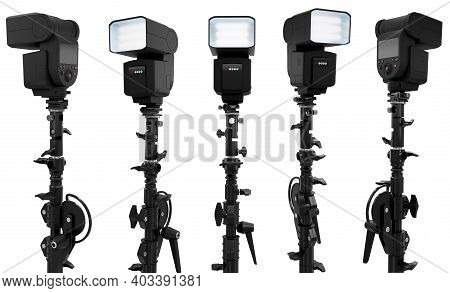 Camera External Flash Speedlight On Stand Isolated On White Background. 3d Rendering And Illustratio