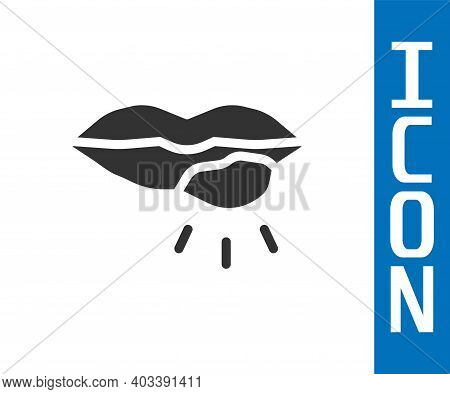 Grey Herpes Lip Icon Isolated On White Background. Herpes Simplex Virus. Labial Infection Inflammati