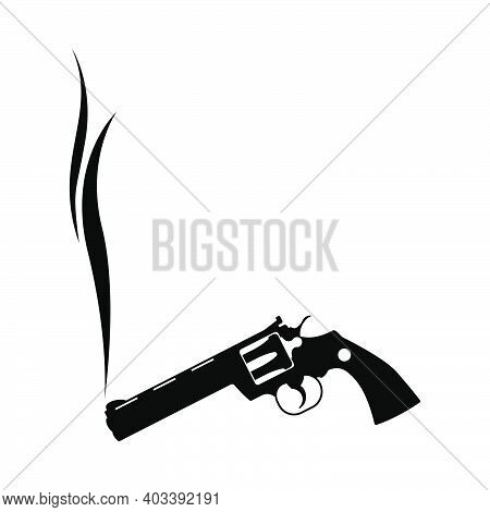 Smoking Revolver Icon. Black Glyph Design. Vector Illustration.