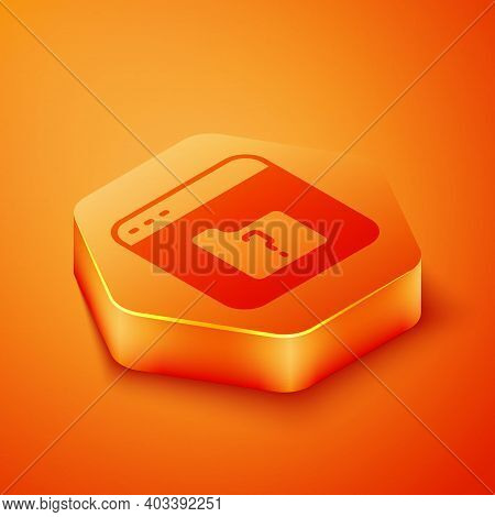 Isometric File Missing Icon Isolated On Orange Background. Orange Hexagon Button. Vector