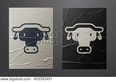 White African Buffalo Head Icon Isolated On Crumpled Paper Background. Mascot, African Savanna Anima