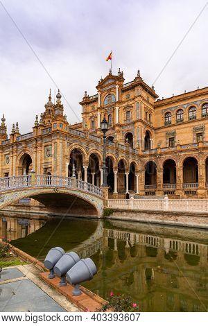 Seville, Spain - 10 January, 2021: The Plaza De Espana In The Parque De Maria Luisa In Seville In An