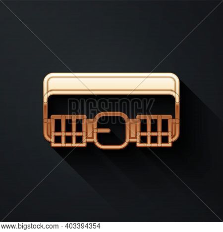Gold Hunting Cartridge Belt With Cartridges Icon Isolated On Black Background. Bandolier Sign. Hunte