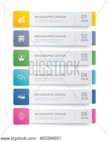 6 Data Infographics Tab Index Template Design. Vector Illustration Abstract Background. Can Be Used