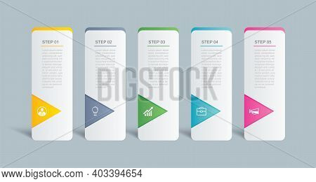 5 Data Infographics Tab Index Template Design. Vector Illustration Abstract Background. Can Be Used