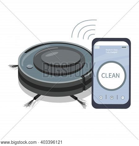 A Smartphone App That Controls A Robot Vacuum Cleaner. Modern Household Appliances For Cleaning Apar