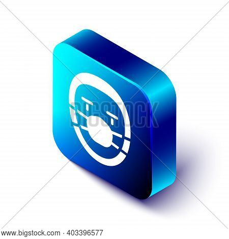 Isometric Doctor Pathologist Icon Isolated On White Background. Blue Square Button. Vector