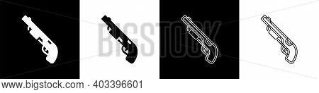 Set Police Shotgun Icon Isolated On Black And White Background. Hunting Shotgun. Vector