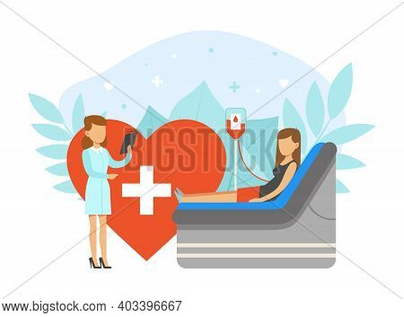Blood Donation Concept, Woman Donor Volunteer Donating Her Blood Cartoon Vector Illustration