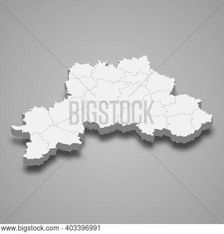 3d Map Of Mogilev Oblast Is A Region Of Belarus, Vector Illustration