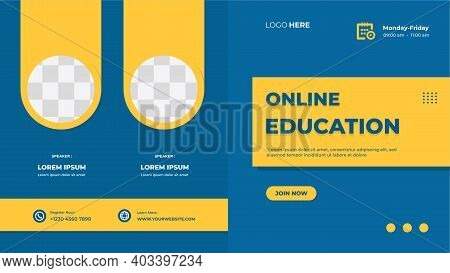 Online Education Website Banner Template With Blue Background And Double Circle Yellow Frame