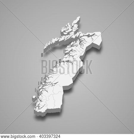 3d Isometric Map Of Nordland Is A County Of Norway, Vector Illustration